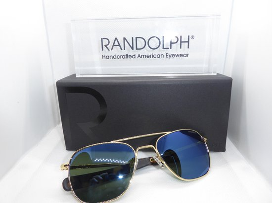 Randolph zonnebril, Aviator AF239, 23 karaat goud, skytec polarized cobalt, maat 55