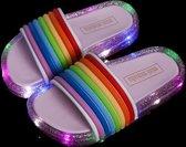LED Slippers Regenboog - Roze