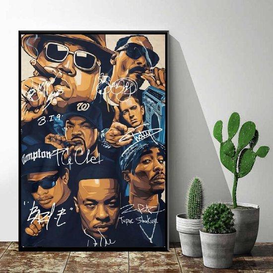 Allernieuwste Canvas Schilderij Hip Hop Legends 2PAC, Dr Dre, Snoop Dogg, Emenim, Biggie, Tupac, Ice Cube - met handtekeningen - Muziek old school - Poster - 50 x 70 cm - Kleur