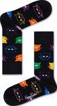 Happy Socks Cat Sokken Heren - Zwart met gekleurde katten - Maat 41-46