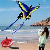 ✿BrenLux® Windvlieger vlinder- Windvlieger Butterfly met GRATIS  100 meter touw - Vlieger met 100 meter lijn - Windvlieger - Strandvlieger - Vlieger Octopus – Vliegeren – Vlieger voor kinderen – Windvlieger 150 x 88cm