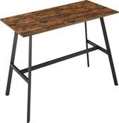 ACAZA Bartafel voor Keuken of Woonkamer, Hoge tafel van 91.5 cm hoog, Bijzettafel, Industriële Vintage Stijl, Hout en Metaal, Zwart / Bruin