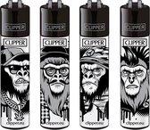 "Clipper Classic Large Aanstekers ""Monkeys"" (4 Stuks)"