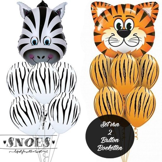 Snoes * Jungle Thema Ballon Boeketten Set van 1 x Zebra 1 x Tijger Safari Verjaardag Folie en Latex ballonnen