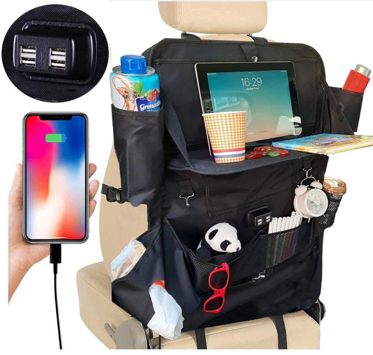 Luxergoods Autostoel Organizer met Tablet Houder- Met uitklapbare laptophouder - Nieuw 2021 Model -