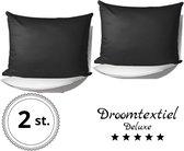 DroomTextiel Deluxe - Katoen / Satijnen Kussensloop 2 Stuks - 60 x 70 cm - Zwart - Hoogwaardige kwaliteit - Super Zacht -