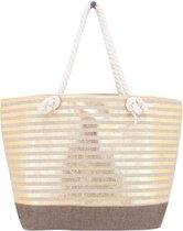 Strandtas gestreept goud glanzend 33 x 53 cm - Strandshoppers/boodschappentassen van polyester