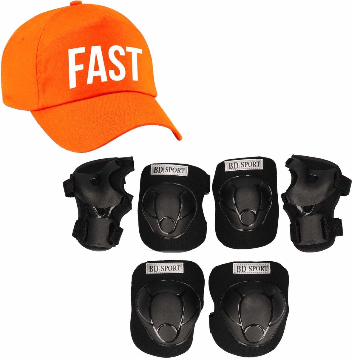 Set van valbescherming voor kinderen maat L / 9 tot 10 jaar met een stoere FAST pet oranje