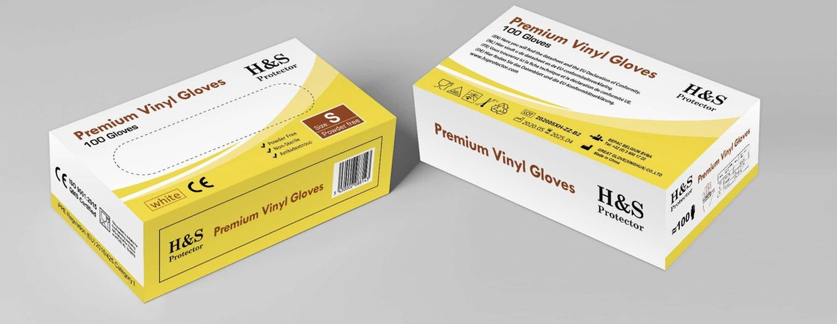Wegwerp handschoenen - Vinyl handschoenen - Wit - Poedervrij - maat L - doos 100 stuks