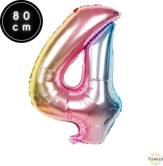 Cijfer Ballonnen - Cijfer Ballon Regenboog - Cijfer 4 Ballon - 82 cm Hoog - Ballonnen Verjaardag - Feestversiering - 40 Jaar - Fienosa