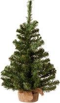 Kleine volle kerstboom in jute zak 60 cm - Kunst kerstbomen / kunstbomen - Groen