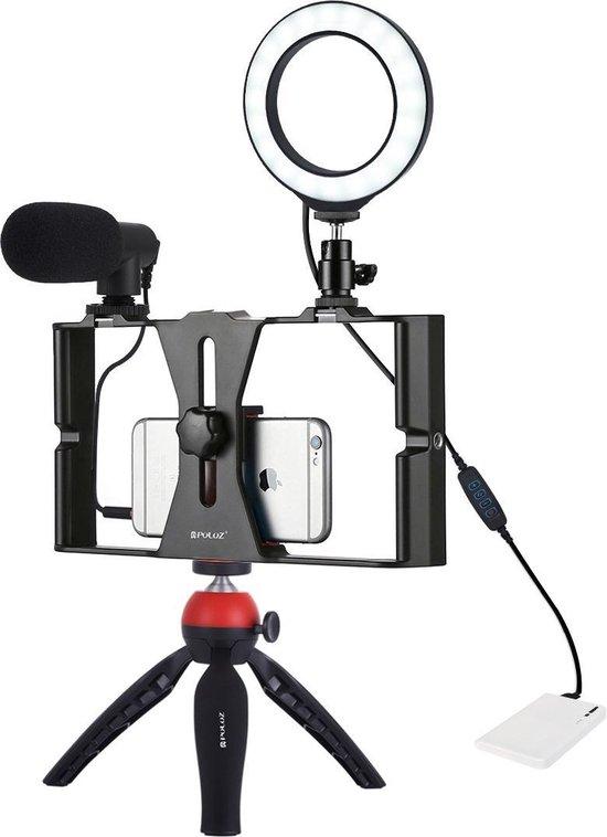 PULUZ 4 in 1 Vlogging Live Broadcast Smartphone Video Rig + 4.7 inch 12cm Ring LED Selfie Light Kits met microfoon + statiefbevestiging + Cold Shoe statiefkop voor iPhone, Galaxy, Huawei, Xiaomi, HTC, LG, Google en andere smartphones (rood)