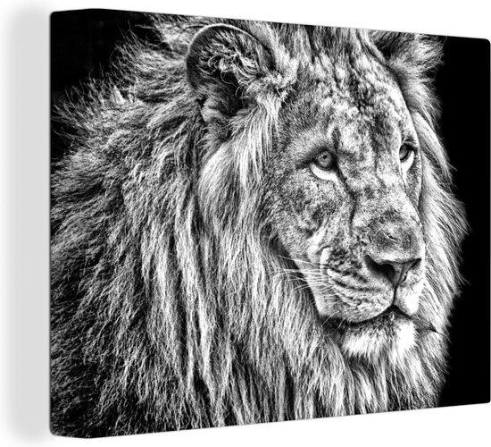 Bol Com Leeuw In Zwart Wit Canvas 80x60 Cm Foto Print Op Canvas Schilderij Wanddecoratie