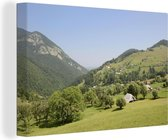 Groene heuvellandschap in het Nationaal park Piatra Craiului in Roemenië Canvas 60x40 cm - Foto print op Canvas schilderij (Wanddecoratie woonkamer / slaapkamer)