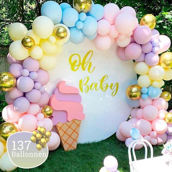Sellaio Ballonnenboog – Regenboog -  Ballonnen verjaardag – Versiering- Babyshower  – Inclusief strip en pomp – Complete set –135 ballonnen Rainbow