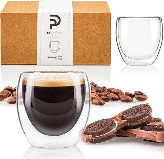 Luxe Dubbelwandige Espresso Kopjes - Espresso Glazen - Koffieglazen - Espressokopjes - Koffie Glazen - 80 ML - Set Van 6