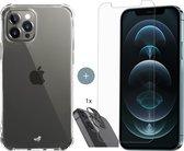 iPhone 12 Pro Max hoesje shock proof case transparant - 2x iPhone 12 Pro Max Screen Protector + 1x Camera Lens Screenprotector