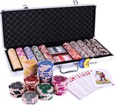 Qualux Pokerset – Poker – 500 Clay Chips– 13,5 Gram Fiches – Poker Fiches – Inclusief Luxe Opbergkoffer