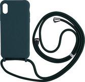 iPhone 8 Back Cover Hoesje met Koord - Back Cover - Silliconen - Flexibel - Koord - Apple iPhone 8 - Zeeblauw