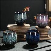 Livin' Koffiekopjes Gekleurd Keramiek Set van 4 - Koffiemok en Koffiebeker 150 ml - Theekopje - Mooi Cadeau voor Man en Vrouw