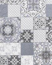 Behang voor badkamers en keukens EDEM 87001BR10 vinylbehang licht gestructureerd in tegel patroon en metalen accenten grijs antraciet wit zilver 5,33 m2