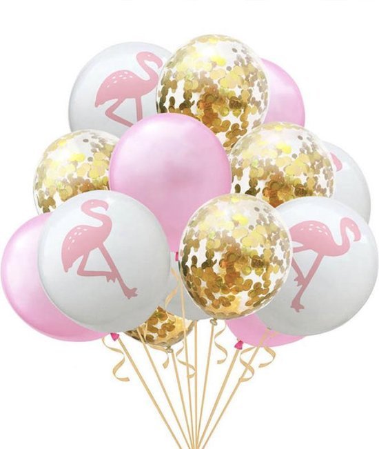 Ballonnen Wit Flamingo & Transparant en Rose / Roze   Goud Confetti   Effen - Transparant   15 stuks   Baby Shower - Kraamfeest - Verjaardag - Geboorte - Fotoshoot - Wedding - Marriage - Birthday - Party - Feest - Huwelijk - Jubileum - Event