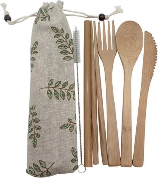 Bamboe bestek - 8 delige set - Milieuvriendelijk - 1 persoons - Bestek -Herbruikbaar ♻