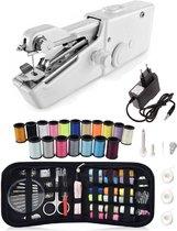 Handy Stitch - PREMIUM Handnaaimachine met Adapter + 79 Delige Starterskit - Mini naaimachine - Compact - Draadloos - Draagbaar - Incl. 21 Spoelen garen - Elektrisch of op Batterijen