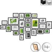bomoe Nature Set van 24 Houten Fotolijsten  - 10x 10,5x15cm / 8x 13x18cm / 4x 15x20cm / 2x 20x30cm - Plexiglas Fotolijst van Hout - Standaard & Passepartout - Metalen Ophanging - Zwart