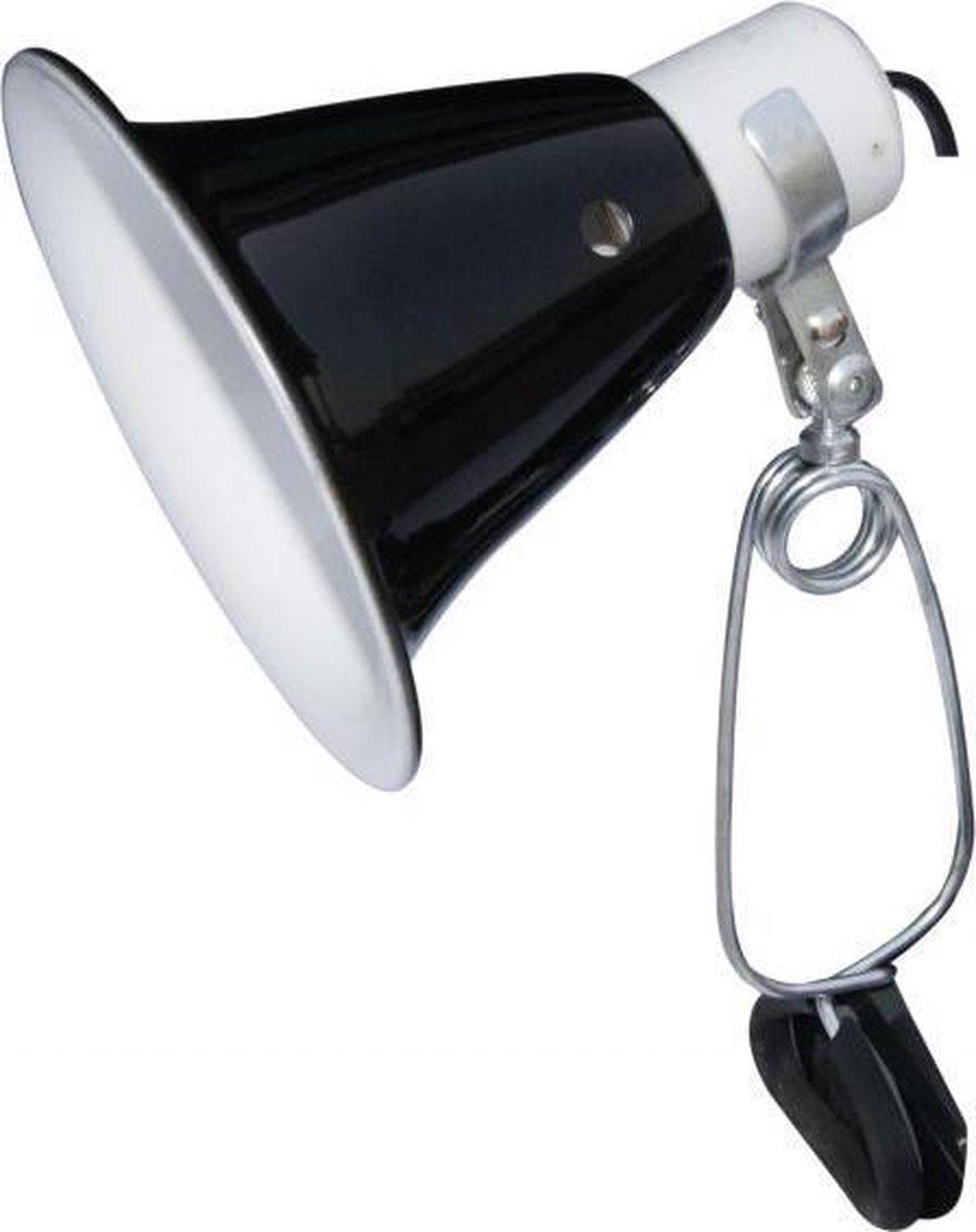 Komodo Black Dome Clamp Lamp Fixture -  Terrarium Verlichting - 14 cm - 60W