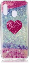 Let op type!! Voor Galaxy A20e gekleurde tekening patroon IMD vakmanschap zachte TPU beschermhoes (rood hart)