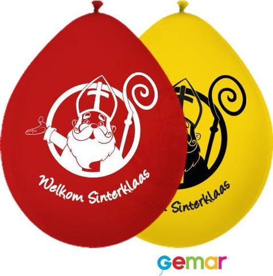 """Ballonnen """"Welkom Sinterklaas"""" Geel en Rood (Lucht)"""