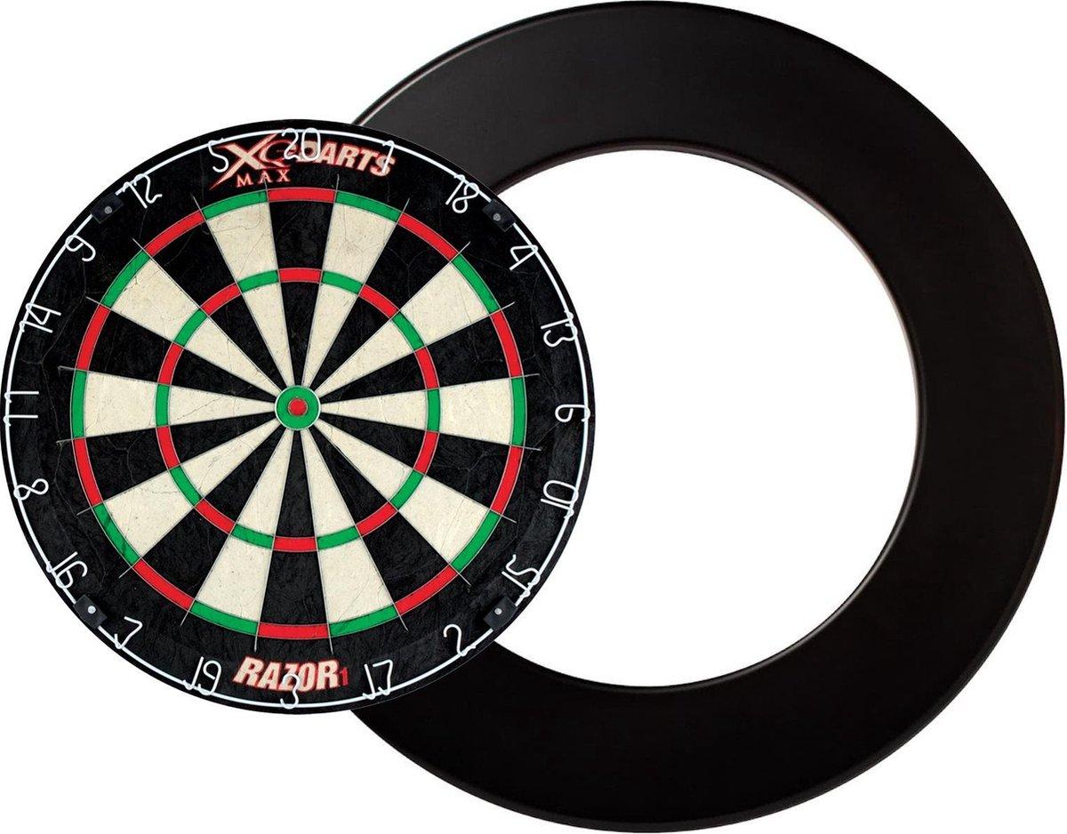 Dragon darts - XQ Max Razor 1 PRO - dartbord - inclusief - dartbord surround ring - zwart - dartbord bescherm ring