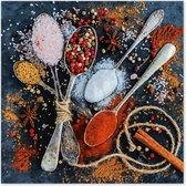 Graphic Message - Schilderij op Canvas - Kruiden en Lepels  - Keuken - Gastronomie - 60x60