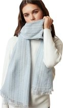 Wolmix Sjaal – Dames Sjaal – 190cm – Lichtblauw