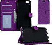 iPhone 5SE Flip Case Cover Flip Hoesje Book Case Hoes – Paars
