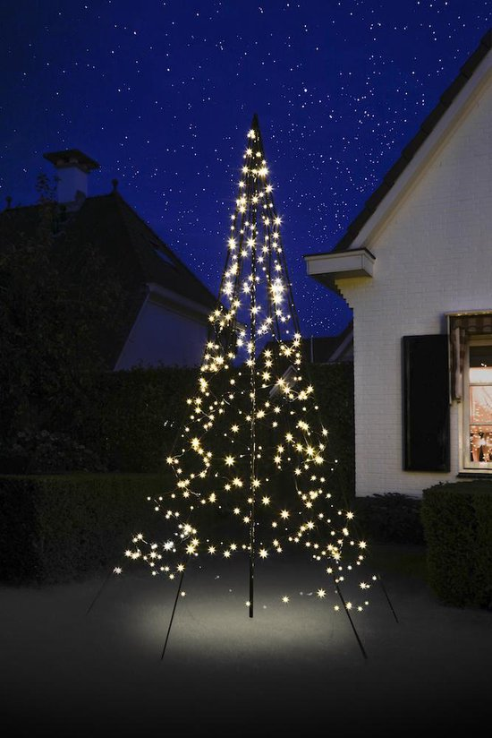 Fairybell LED Kerstboom voor buiten inclusief mast - 300 cm hoog - 360 LEDs - Warm wit