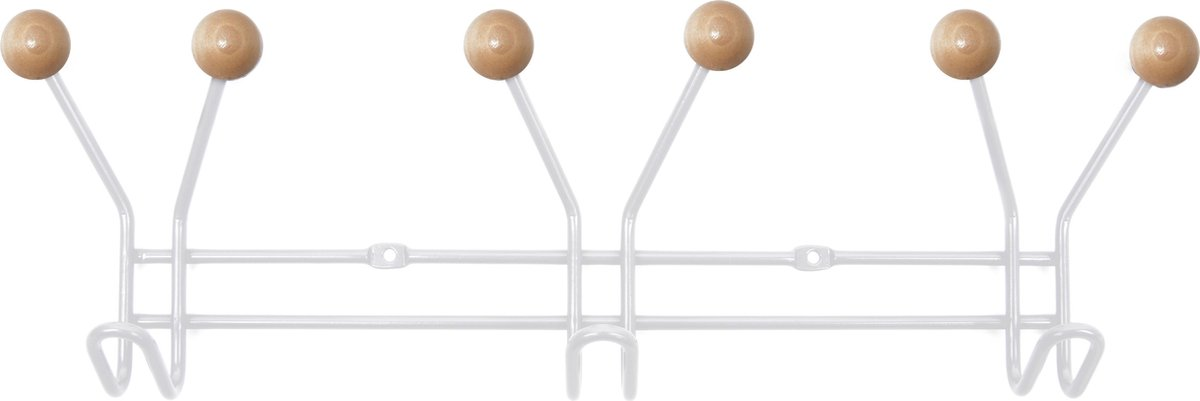Hat rack Jupiter white w. wooden balls - PT LIVING
