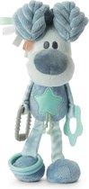 Pluche honden activiteiten knuffel Woezel blauw 27 cm - Baby activiteiten speelknuffels - Woezel en Pip