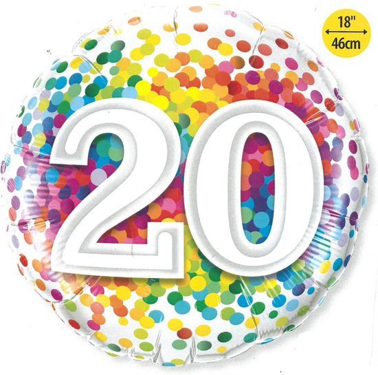 20 jaar Confetti - Folieballon 25 cm