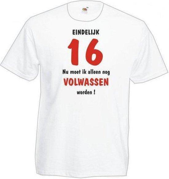 Mijncadeautje Heren Leeftijd  T-shirt wit maat XXL Eindelijk 16 nu nog volwassen worden