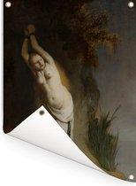 Andromeda - Schilderij van Rembrandt van Rijn Tuinposter 60x80 cm - Tuindoek / Buitencanvas / Schilderijen voor buiten (tuin decoratie)