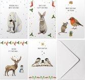 Set van 10 stuks vrolijke kerstkaarten met enveloppen - Engels - winterdieren in aquarel met persoonlijke kerstgroet en nieuwjaarswens - dubbele kaart met vouw - pinguïn ijsbeer konijn muisje roodborstje hert vogels -  A6 formaat