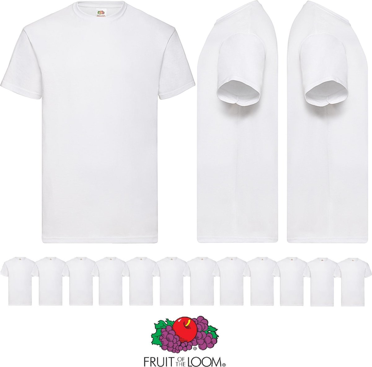 12 pack witte shirts Fruit of the Loom ronde hals maat XL Valueweight