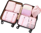 Travel cubes | Packing Cubes Set 6-delig | Koffer accessoires| Opbergtassen | Opbergzakken | | Kleding organizer | Travel bags | Onbezorgd en georganiseerd reizen| Reistas | Roze-gestreept