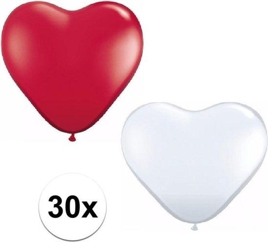 30x bruiloft ballonnen wit / rood hartjes versiering 15 cm - huwelijk / valentijn