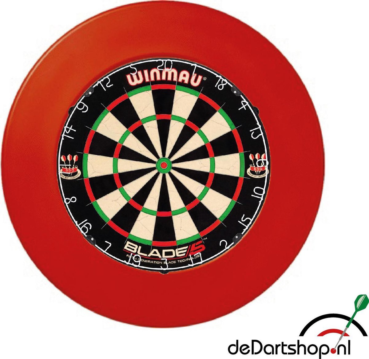 Winmau Blade 5 - Plus Surround Ring Rood - Complete PROFESSIONELE dartset - dartbord