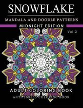 Snowflake Mandala and Doodle Pattern Coloring Book Midnight Edition Vol.2