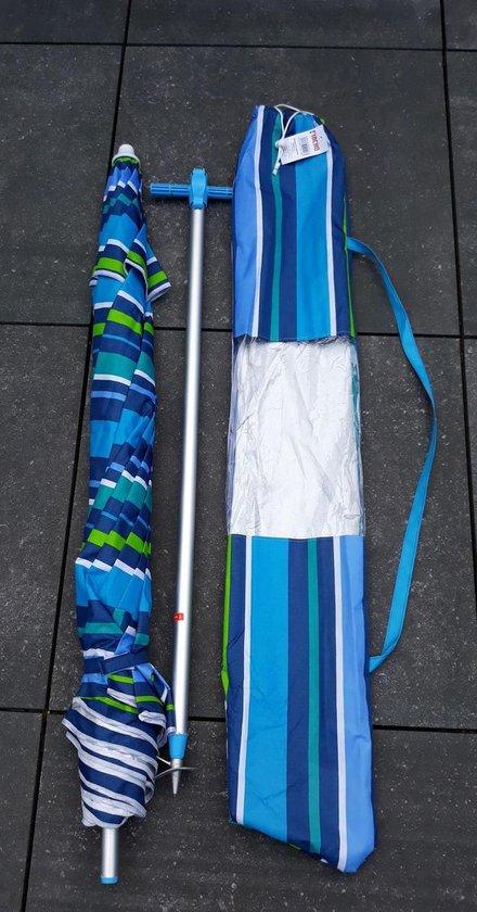 LUXE KLEURRIJKE ALUMINIUM PARASOL Model 200 - Zandboor - Kantelbaar - Windvaan - UV Bescherming - Draagtas - Pincho