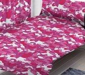 1 persoons dekbedovertrek legerkleuren camouflage roze